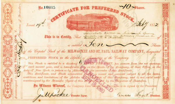 Russell Sage - Milwaukee and St. Paul Railway - Stock Certificate