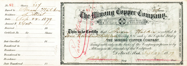 Hiram Walker - Minong Copper Co - Stock Certificate