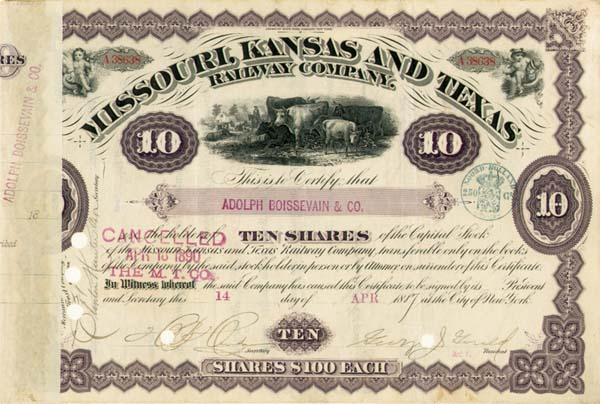 George J. Gould - Missouri, Kansas & Texs Railway Company - Stock Certificate