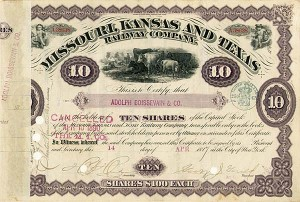 George J. Gould - Missouri, Kansas & Texs Railway Company - Stock Certificate