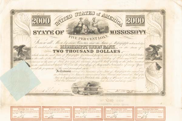 State of Mississippi - 1838 - $2,000 Bond