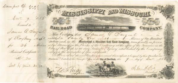 General John A. Dix - Mississippi and Missouri Railroad - Stock Certificate