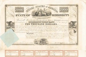 State of Mississippi - 1838 - $2,000 Bond - PRICE UPON REQUEST