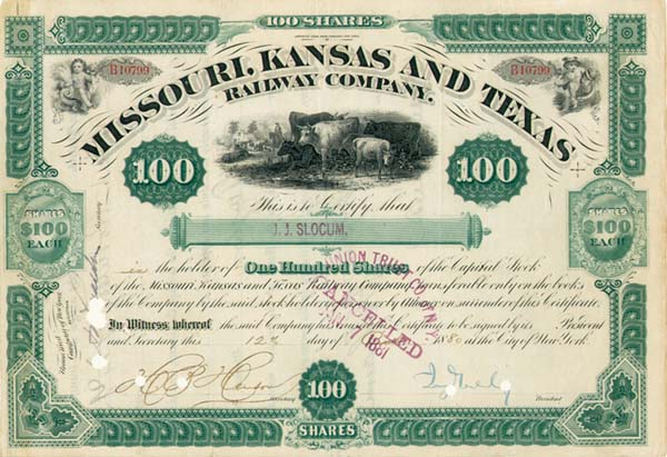 Jay Gould - Missouri, Kansas and Texas Railway - Stock Certificate