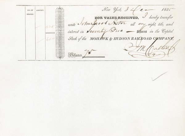 John Jacob Astor - 1835 Mohawk & Hudson Railroad - Stock Certificate