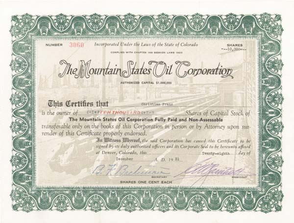 Mountain States Oil Corp - Stock Certificate
