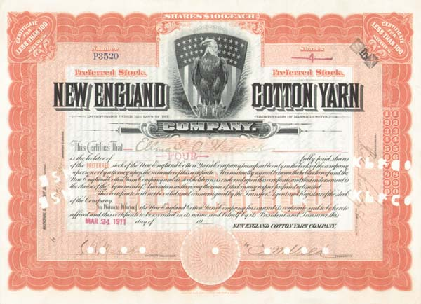 New England Cotton Yarn - Stock Certificate