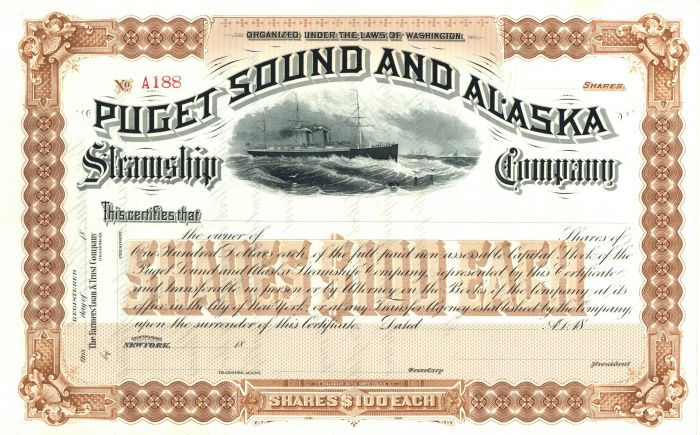 Puget Sound and Alaska Steamship Company - Gorgeous Brown Stock Certificate