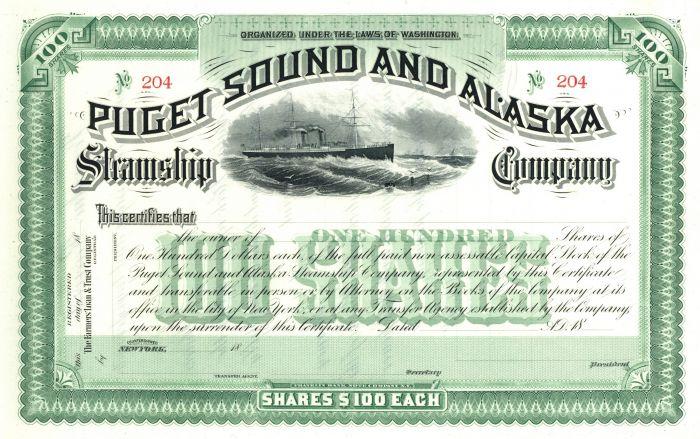 Puget Sound & Alaska Steamship Company - Gorgeous Green Stock Certificate