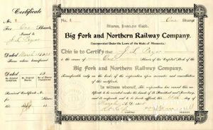 Big Fork and Northern Railway Company - Stock Certificate - SOLD