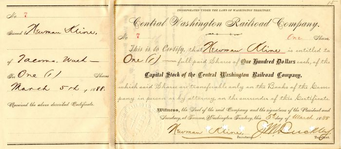 Central Washington Railroad Company - Stock Certificate
