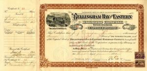 Bellingham Bay and Eastern Railroad Company - Stock Certificate