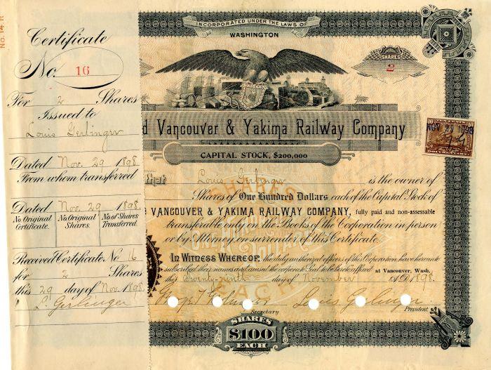 Portland Vancouver & Yakima Railway Company - Stock Certificate