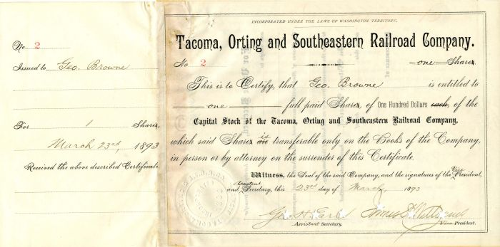 Tacoma, Orting and Southeastern Railroad Company - Stock Certificate