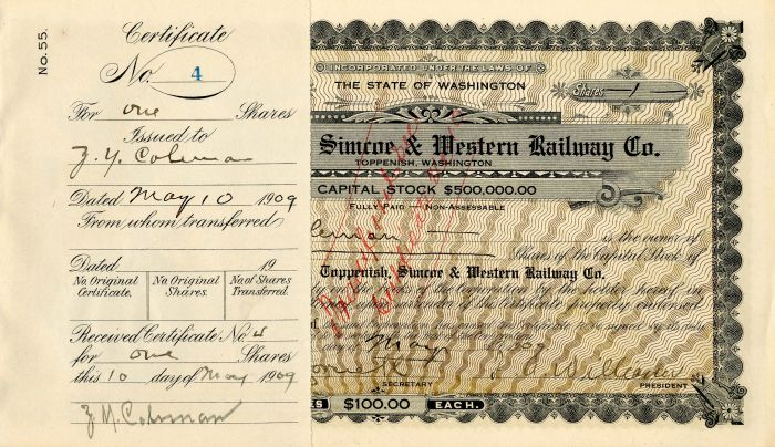 Toppenish, Simcoe & Western Railway Co. - Stock Certificate