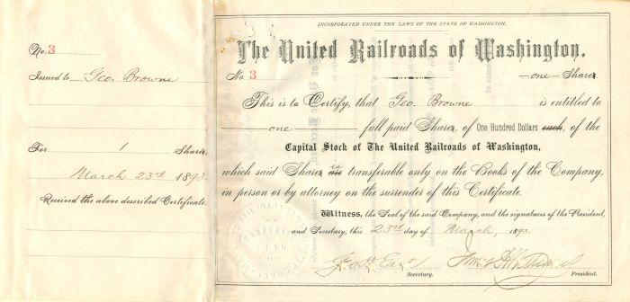 United Railroads of Washington - Stock Certificate