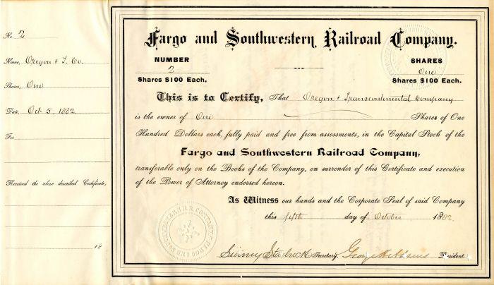 Fargo and Southwestern Railroad Company - Stock Certificate