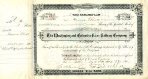 C.S. Mellen & Geo. H. Earl signed Washington and Columbia River Railway Company - Stock Certificate