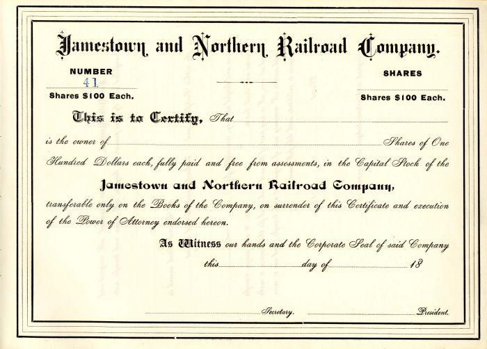 Jamestown and Northern Railroad Company