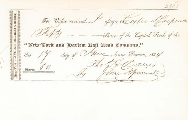 John Aspinwall - New York & Harlem Railroad - Stock Certificate - SOLD