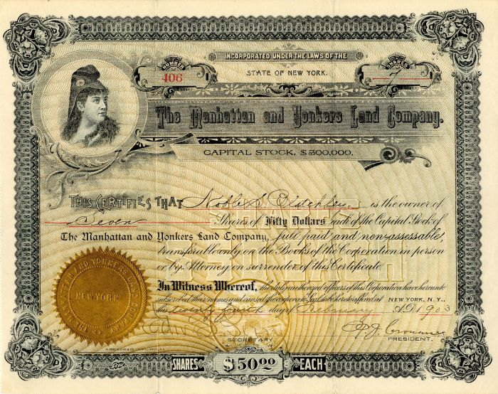 Manhattan and Yonkers Land Company - Stock Certificate