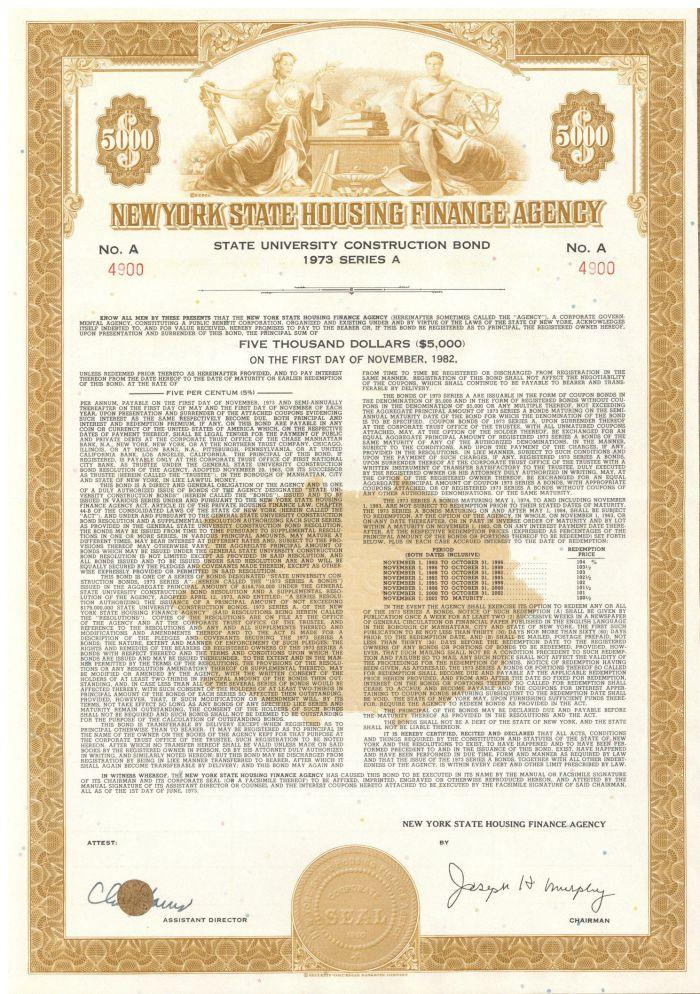 New York State Housing Finance Agency - $5,000 Bond