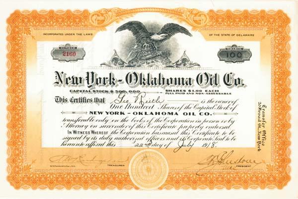 New York - Oklahoma Oil Company - Stock Certificate