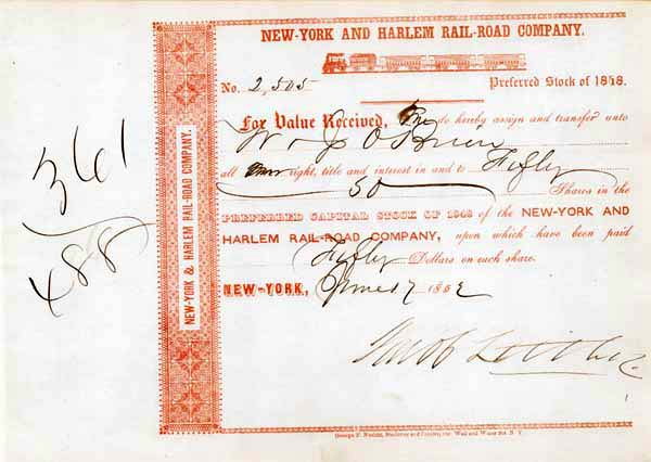 Jacob Little - New York and Harlem Railroad  - Stock Certificate