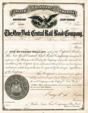 Henry Keep - New York Central Railroad - Stock Certificate