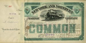 New York and Northern - Transferred to Rockefeller - Stock Certificate
