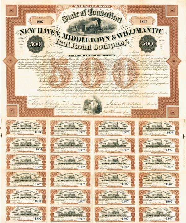 New Haven, Middletown & Willimantic Railroad - Bond