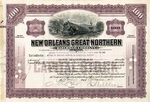 Goodyear Will - New Orleans Great Northern Railroad - Stock Certificate