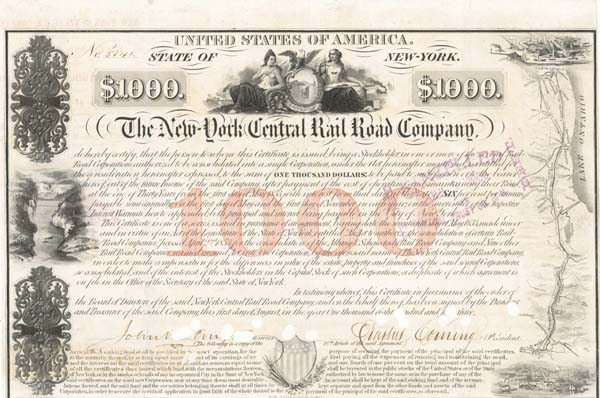 New York Central Railroad Co $1,000 Bond signed by Erastus Corning