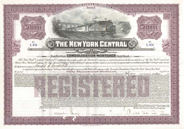 New York Central Railroad Company signed by Harold Stirling Vanderbilt - $50,000 - Bond