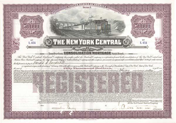 New York Central Railroad Company signed by Harold Stirling Vanderbilt - $50,000 - Bond