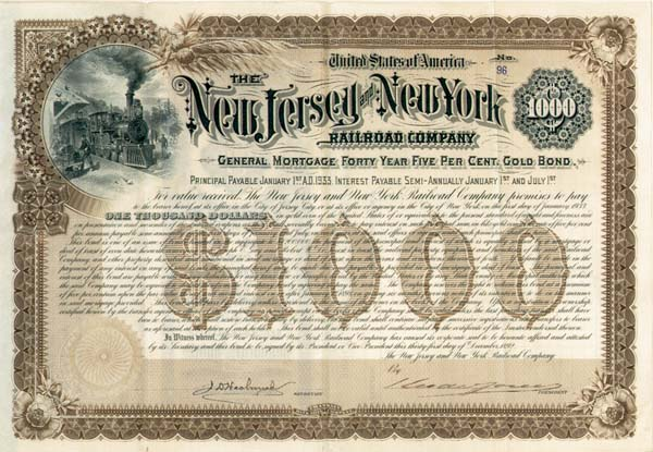 New Jersey and New York Railroad Company - Bond