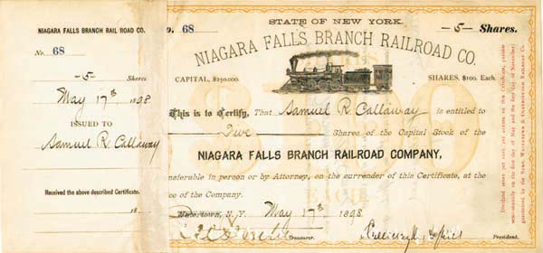 Niagara Falls Branch Railroad Co. signed by Chauncey M. Depew and E.V.W. Rossiter - Stock Certificate