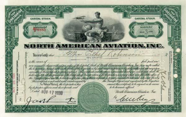 North American Aviation Stock Certificate