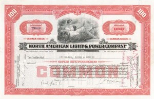 North Amercian Light & Power Co - 50 Pieces - Stock Certificate