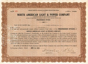 Clement Studebaker, Jr - North American Light & Power Co - Stock Certificate