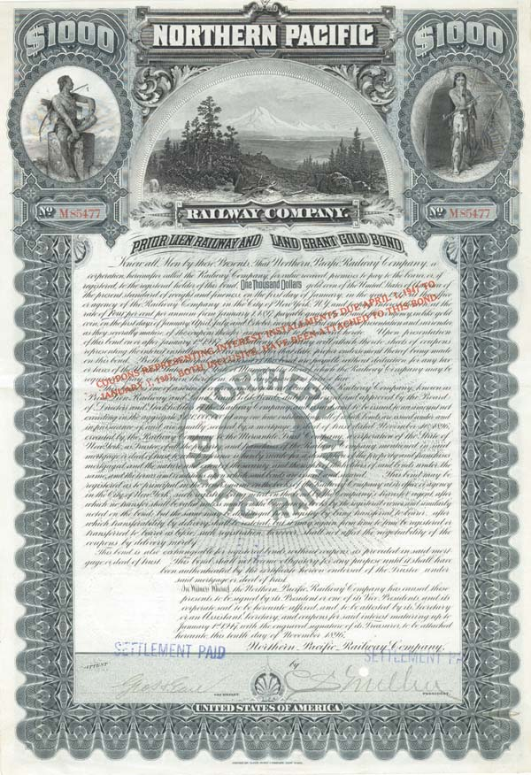 Charles Sanger Mellen - Northern Pacific Railway Co $1,000 Gold Bond signed by Charles Sanger Mellen