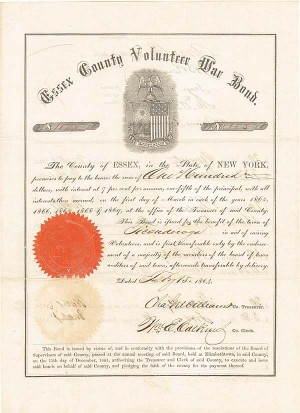 Essex County Volunteer War Bond for the Town of Ticonderoga