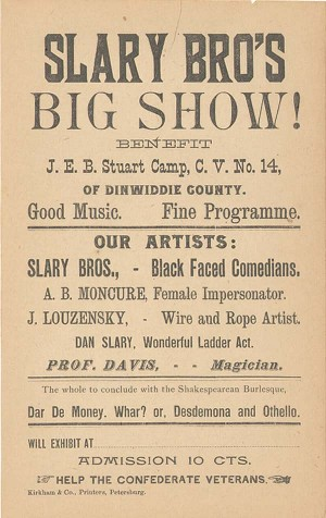 Confederate Veterans Handbill Benefit J.E.B. Stuart Camp - SOLD