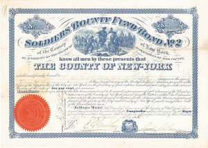 Soldiers Bounty Fund Bond No. 2 of the County of New York - SOLD