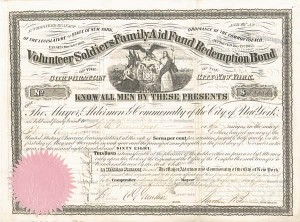 Volunteer Soldiers Family Aid Fund Redemption Bond of the Corporation of the City of New York
