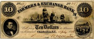 Farmers & Exchange Bank of Charleston - Obsolete Bank Note - SOLD
