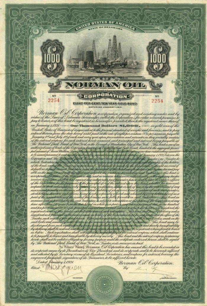 Norman Oil Corporation - $1,000 Bond