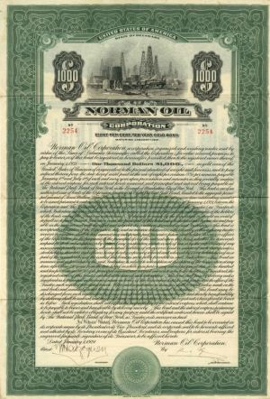 Norman Oil Corporation - $1,000 Bond