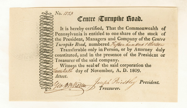 Centre Turnpike Road - Stock Certificate