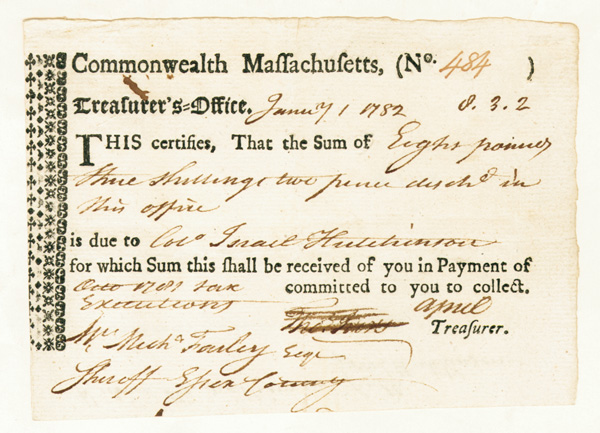 Colonel Israel Hutchinson Signed Commonwealth of Massachusetts Note
